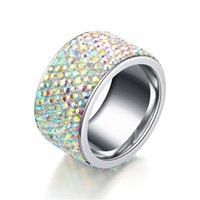 ingrosso colore bague-Anelli di nozze grandi di cristallo pieno di modo per le donne Anello di acciaio inossidabile romantico Bague Femme argento-femmina di anello di colore