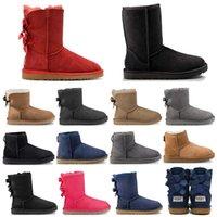 muslo botas altas marrones al por mayor-2019 UGG ugg boots diseñador de moda mujer tobillo invierno Australia botas marrón alto Bailey Bowknot mujeres trabajo nieve sobre la rodilla muslo botas altas de piel