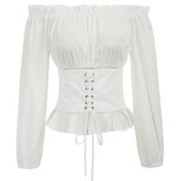 kapalı omuz takılı üstler toptan satış-Vintage Kadınlar Rönesans Gotik Off-omuz Korse Stil Ortaçağ Retro Slim Fit Yüksek Bel Bluz Blusas Mujer Tops Q190425