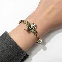 pulseiras de opala para mulheres venda por atacado-Designer de Jóias de Luxo Mulheres Animal Pérola Pulseira G Logotipo Marca Abelha opala Pulseiras de Cobre de Noivado Casamento Jóias