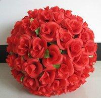 цветы для поцелуев оптовых-40 см Большой Моделирование Шелковые Цветы Искусственные Розы Поцелуи Мяч Для Свадьбы День Святого Валентина Украшения Партии Поставки EEA489