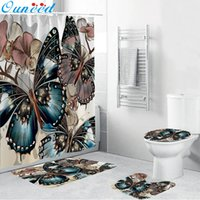 Wholesale shower curtains resale online - Ouneed Shower Curtains set Non Slip sweets Butterfly pattern Toilet Polyester Cover Mat Set flowers Bathroom Shower Curtain Y200108