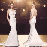 Wholesale stain sash online - 2019 sexy Mermaid Wedding Dresses with crystal sash sweep soft train stain Criss Cross covered button Wedding Gown plus size Bridal Dresses