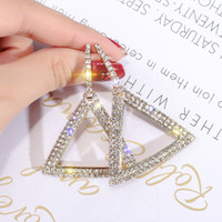 Wholesale New design creative jewelry high grade elegant crystal earrings triangle Gold and silver earings wedding party earring for woman