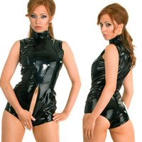 Wholesale sexy leather pvc bondage resale online - New Sexy Faux Leather PVC Wet Look Catsuit with Zipper Bondage Bodysuit Fetish Clubwears fz1755