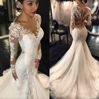 Wholesale gorgeous long lace black dress for sale - Group buy Gorgeous Lace Mermaid Wedding Dresses Dubai African Arabic Style Petite Long Sleeves Bridal Gowns Plus Size