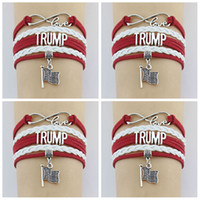 Wholesale usa bracelets for sale - Donald Trump Bracelet Usa Vote Wax Cords Wrap Braided Leather Adjustable Bracelet Bangles USA Flag wristband LJJA2077
