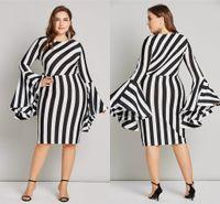 vestidos 6xl al por mayor-6XL manga flare tallas grandes mujeres bodycon dress sexy vaina 5 colores corto vestido de rayas para mujeres robe femme fs5100