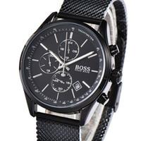 caja de reloj de calidad para hombre al por mayor-Reloj de lujo para hombre de negocios de cuarzo de alta calidad. Reloj de pulsera de acero inoxidable para hombres. Todos los discos pequeños funcionan con caja de regalo.