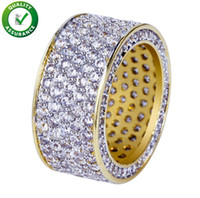 mikro pflastern groihandel-Hip Hop Jewelry Mens Gold Ring Iced Out Rings Micro Pave Cubic Zircon Promise Diamond Finger Rings Luxury Designer Brand Personality Gift