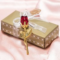 Wholesale souvenir for wedding crystal for sale - Group buy Romantic Wedding Gifts Multicolor Crystal Rose Favors With Colorful Box Party Favors Baby Shower Souvenir Ornaments For Guest DHL