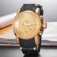 Wholesale wrist watches for men online - Hot sale Luxury Invicta Men Wrist Watch Big Dial rubber band Military Sport Watch Famous Male Clock For Man