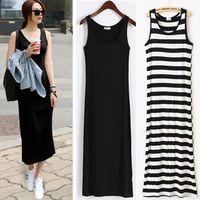 Wholesale womens plus clothing online - 150pcs Womens Summer Dress Plus Size Casual Dress Long Bohemian Dresses Striped Female Clothing