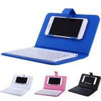 drahtlose tastatur für handy großhandel-Bluetooth-Handy-Tastatur mit PU-Ledertasche Mini Wireless Portable Aluminium IOS iPhone 7 8 X Android Phones