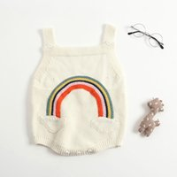 Wholesale knitted clothing for girls online - Boutique Baby clothing Rainbow Strap Quality Knit Romper Jumpsuits for Baby girl Ins Hot selling Y BABY
