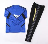 traje de cuello redondo al por mayor-19 20 Chándal de fútbol Manch United MU Traje de cuello redondo para hombre Suéter y pantalón de calidad tailandesa de United Conjunto de entrenamiento de fútbol para adultos
