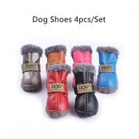 botas para perros pequeños al por mayor-Perros pequeños 4 unids / set Zapatos de perro Cálido Invierno Botas para mascotas para Chihuahua Raquetas de nieve impermeables Al aire libre Cachorro Outfit antideslizante