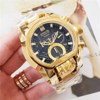 ouro de reserva venda por atacado-Oringal TOP qualidade Mens Invicta Movimento Dupla 52mm 28410 Reserve JT Bolt Zeus Magnum Relógio Chronograph ouro