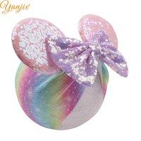 ingrosso testa calda glitter-Hot-Sale 5 `` Paillettes Hairbow Turban Fascia per bambini Glitter Mouse Orecchie Fascia per ragazze Accessori per capelli elastici Impacco per la testa
