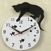 Wholesale reloj pare online - Quartz Watch Cat Wall Clock Acrylic Mirror Reloj Pared Horloge Needle DIY Clocks Living Room Decor Modern Watches D Stickers