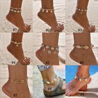 14 k ayaklık toptan satış-Kadınlar Için Bohemian Deniz Kabuğu Halhal Tohum Boncuk zincirler Yunus Kaplumbağa Kolye Charm Yaz Plaj Bare Boho On Yalınayak ayak bileği Bilezik takı