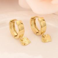 kız çocuklar altın takı toptan satış-18 k Katı Altın GF Kalp damla Küpe Kadınlar / Kız, aşk Trendy moda Takı Avrupa Doğu çocuklar için çocuklar en iyi hediye