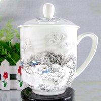 ücretsiz çin bardak toptan satış-Ücretsiz nakliye Seramik Kupa, kapaklı Jingdezhen porselen fincan, Ofis bireysel Handpainted fincan