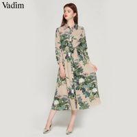 fliegen für frauen großhandel-frauen vintage floral gestreiften midi kleid fliege schärpen langarm plissiert weiblich lässig schicke kleider vestidos