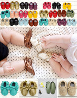 Wholesale genuine leather baby moccasins first walkers resale online - Multy Color Baby moccasins soft sole genuine leather first walker shoes baby leather newborn shoes Tassels maccasions shoes V010