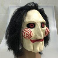 marionete de terror venda por atacado-Mens Saw Horror Jigsaw assustador Halloween Costume filme Puppet assustador Mask Halloween Cabelo Chainsaw Puppet T191010
