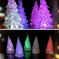 ingrosso albero di vacanza acrilico-Luminoso romantico acrilico albero di Natale LED Night Light Night Party Natale Vacanze Accessori Forniture Illuminazione novità mini LED lig