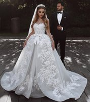 Wholesale sweep wedding dress puffy resale online - 2019 Arabic Gorgeous Ball Gown Wedding Dresses Sweetheart Lace Appliques Sequins Sash Bow Sleeveless Sweep Train Puffy Tulle Bridal Gowns