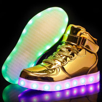 Wholesale casual shoes boy 37 resale online - Eur25 USB Charging Basket Led Children Shoes With Light Up Kids Casual Boys Girls Luminous Sneakers Glowing Shoe Enfant