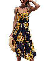 spaß sommerkleider großhandel-Fun Daisy Damen Sommer Blumendruck Spaghettibügel Button Down Swing Midi-Kleid mit Taschen