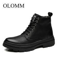 Wholesale uniform shoes resale online - Brand men s fashion boots autumn men s uniform boots winter warm fur ankle footwear lace up shoes DD