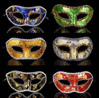 masques de fête pour les hommes achat en gros de-Halloween Demi Masque Masque Masquerade Masque Masculin Parti Venise Dentelle Brillant Tissu Halloween Parti Fournitures TTA1682
