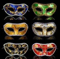 Wholesale cloth face masks resale online - Halloween Half Face Mask Men Masquerade Mask Male Party Venice Lace Bright Cloth Halloween Party Supplies TTA1682