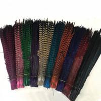ingrosso cappelli da piuma-Colori personalizzati all'ingrosso fagiano piume di coda gioielli artigianali cappello maschera piuma estensione dei capelli 100 pz 20-22 pollici / 50-55 cm EEA294