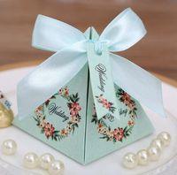 pembe mavi hediye kutuları toptan satış-50 adet Pembe / Mor / Tiffany Mavi Çiçek Piramit Düğün Favor Şeker Kutuları Gelin Duş Parti Kağıt Hediye kutusu