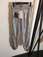 impresión de doble cara ropa al por mayor-2019 ropa de mujer de marca Bordado abalorios de doble cara G-impreso cintura elástica pantalones deportivos mujeres polainas pantalones casual ACF-5