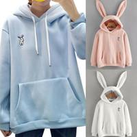 kadınlar hoodie kulakları toptan satış-Kadınların Sevimli 3D Tavşan Kulakları Kapüşonlular 3 Renkler Uzun Kollu Kazak Katı Sıcak Coat Tops