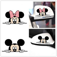 ingrosso adesivi divertenti del ford-Car-styling Simpatico cartone animato divertente Mouse Accessori per auto Specchietto retrovisore Adesivi per auto Decalcomania per Volkswagen Polo Ford 14 * 8cm