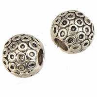 embarque granadas de buracos grandes venda por atacado-Europeu Encantos Pulseiras 14mm Beads DIY Acessórios de Jóias Círculo Gravado Bola Sólida 5mm Grande Buraco de Prata Do Vintage de Metal Frete Grátis 50 pcs