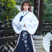 vestidos de baile de hadas al por mayor-Traje antigua hanfu el vestido del bordado de las mujeres de la dinastía Tang princesa hada de la danza de la etapa del desgaste del desgaste de la danza clásica china