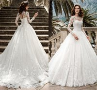 Sexy Sheer Jewel Neck Ball Gown Wedding Dresses Ruffles Appliques Illusion Long Sleeve Cathedral train Plus Size Bridal Gowns