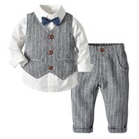 Wholesale baby clothing 18 24 months for sale - Group buy HOT Baby Boys Infant Gentleman Suit Suit With Tie Rompers Clothes Outfits Plaid Pants Climb Clothes Of Male Baby Full Moon Boys Shirt X3