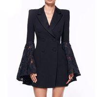 siyah beyaz dantel kat toptan satış-Siyah Beyaz Dantel Çan Flare Kol Blazer Takım Kadın V Boyun Çift Breadsted Resmi Tunik Blazer Ceket Artı Boyutu 3XL