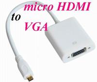 Wholesale micro pc hdmi resale online - MICRO HDMI to VGA cable Video Cable Cord Converter Adapter for PC Laptop mini HDMI to VGA Cable Adapter