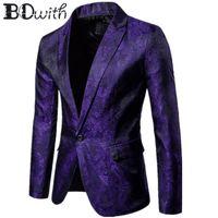 long purple blazer al por mayor-2019 más nueva llegada púrpura hombres chaqueta chaqueta oscura estampada Blazer ocasional de manga larga pico hombres abrigo para fiesta novio