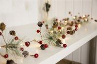 ingrosso albero di frutta multi-Luci di Natale Fata, LED Stella Pine Cone Hairball di Bell Pearl frutta luci della stringa 20 LED 2M per Xmas Tree decorativo bianco caldo, batteria O